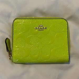 NWOT Neon Yellow/ Green Coach Wallet (Small)